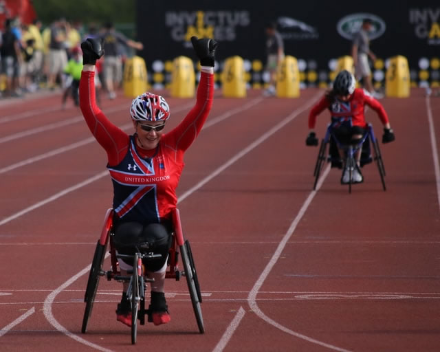 adaptive cycling on a track racing